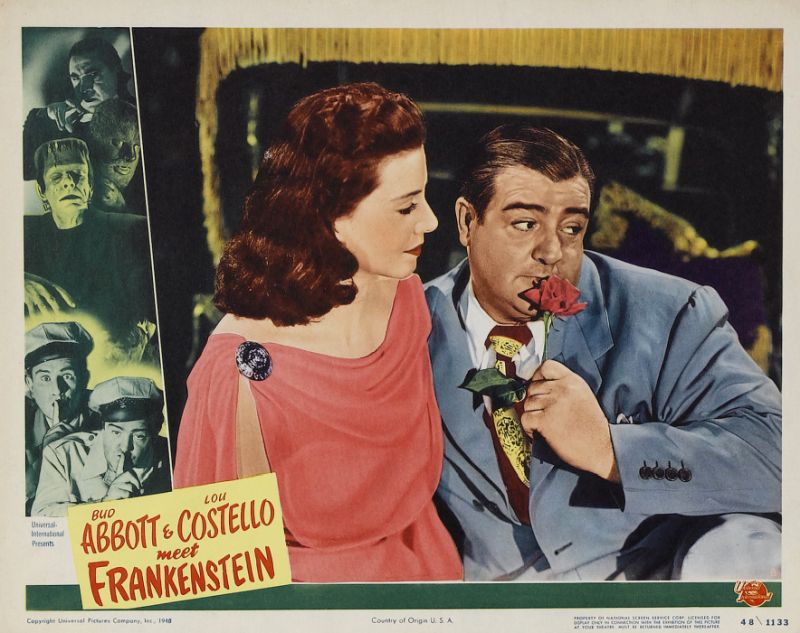 Abbott and Costello Meet Frankenstein Lobby Card with Lou Costello and Lenore Aubert