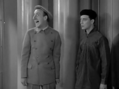 Buster Keaton and Jimmy Durante in The Passionate Plumber 2