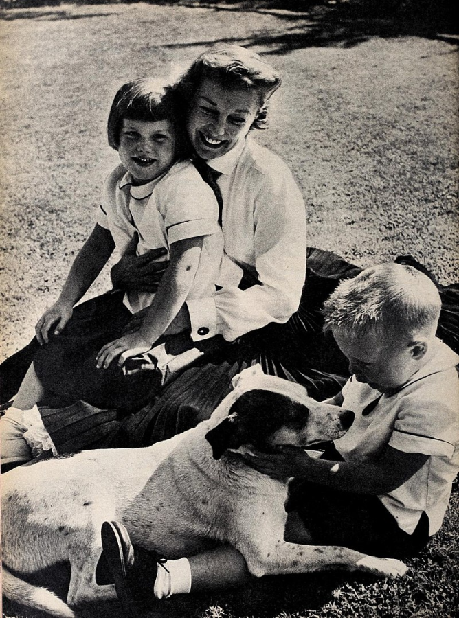 June Allyson with Children Pamela and Dick Powell, Jr.