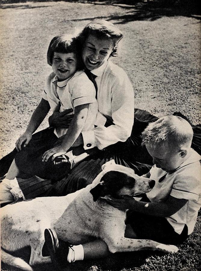 June Allyson with Children Pamela and Dick Powell, Jr.