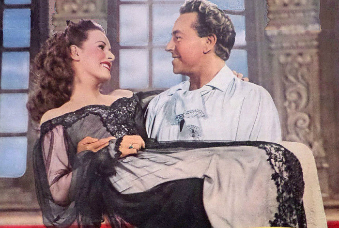 Maureen O'Hara and Paul Henreid in The Spanish Main