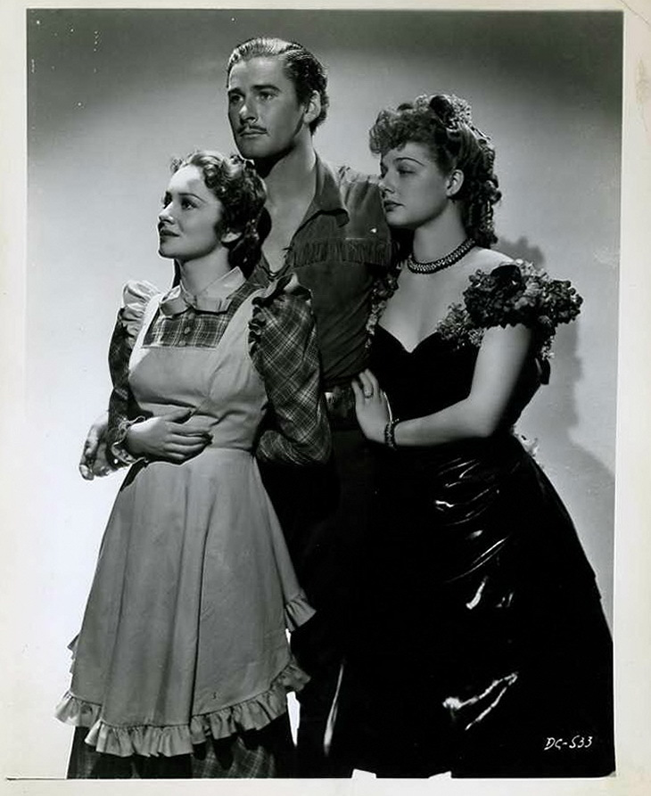 Ann Sheridan, Errol Flynn, and Olivia de Havilland - Dodge City