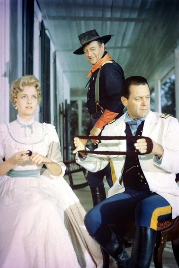 John Wayne, William Holden, and Constance Towers in The Horse Soldiers (1959)