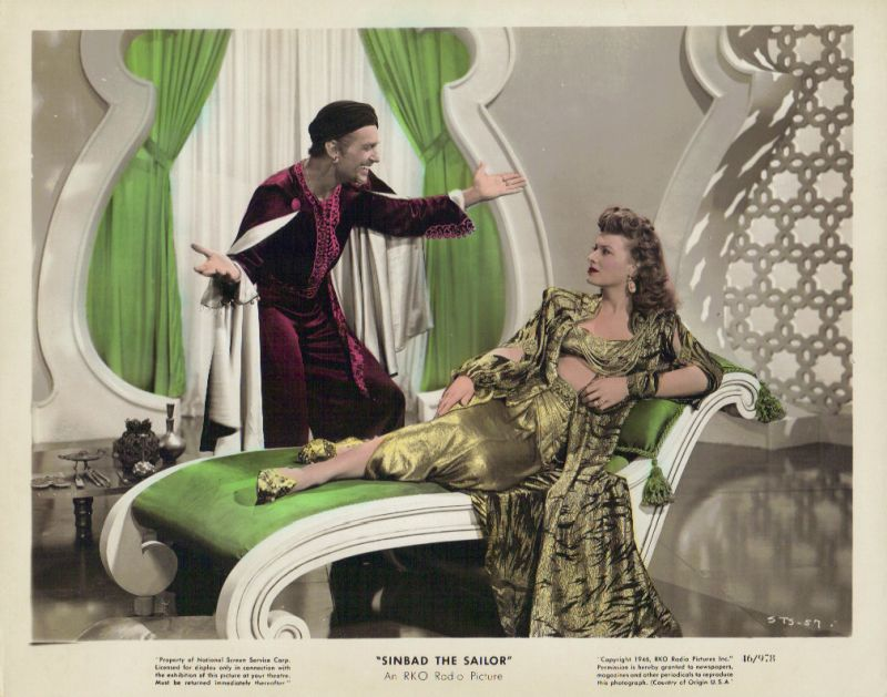 Maureen O'Hara and Douglas Fairbanks Jr. - Sinbad the Sailor Lobby Card