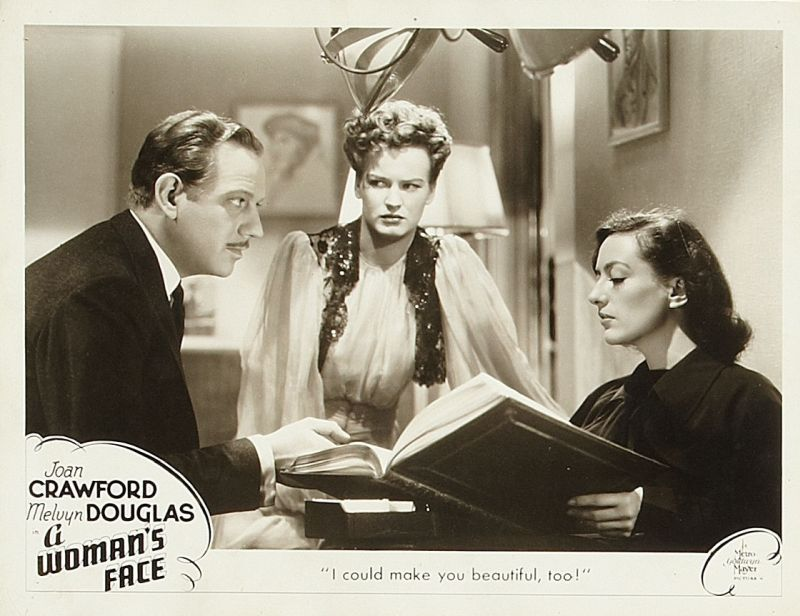 A Woman's Face Lobby Card: Melvyn Douglas, Osa Massen, and Joan Crawford