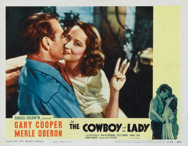 Merle Oberon and Gary Cooper - The Cowboy and the Lady Lobby Card