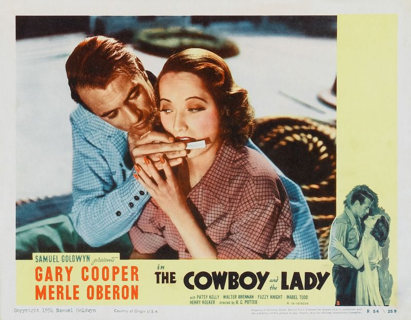 Merle Oberon and Gary Cooper, The Cowboy and the Lady Lobby Card