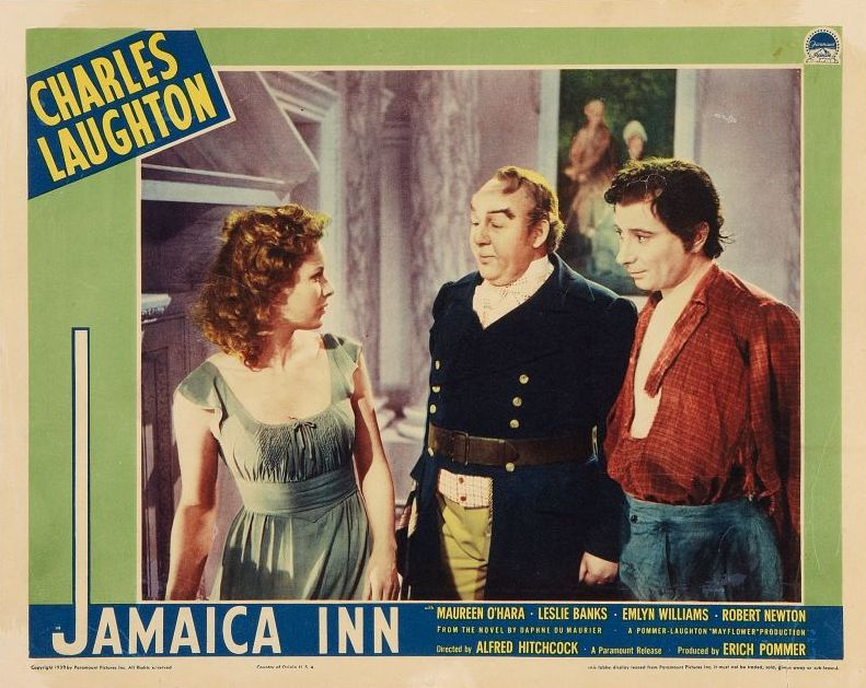 Jamaica Inn Lobby Card, Maureen O'Hara and Charles Laughton