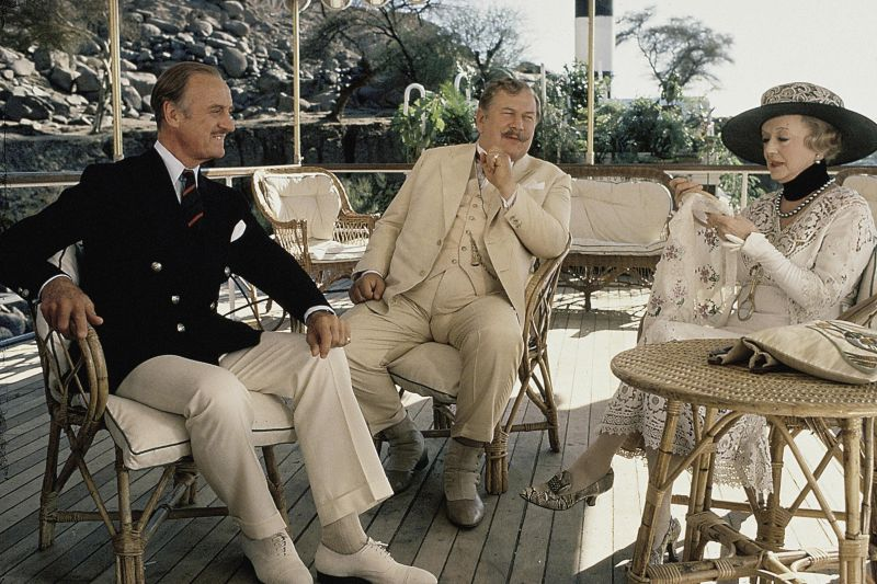 David Niven, Peter Ustinov, and Bette Davis in Death on the Nile