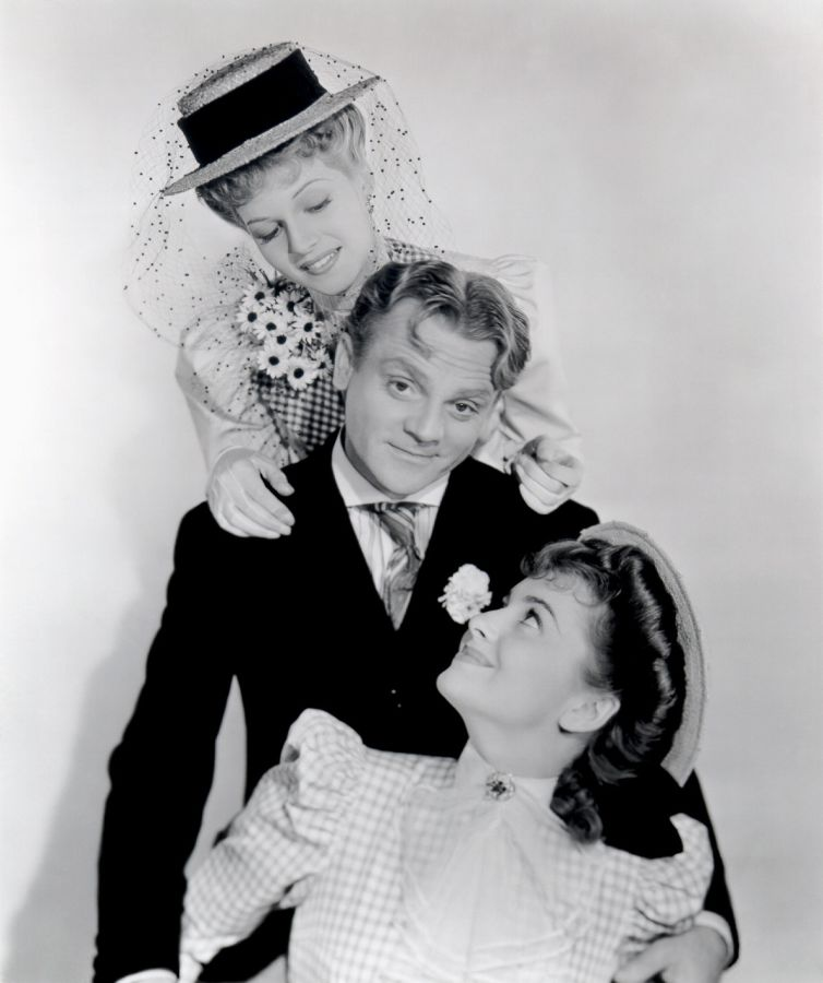 Rita Hayworth, Olivia De Havilland, and James Cagney in The Strawberry Blonde