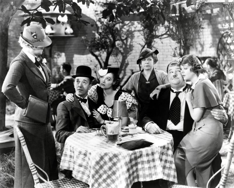 Oliver Hardy, Iris Adrian, Lona Andre, Betty Brown, Stan Laurel, and Daphne Pollard in Our Relations