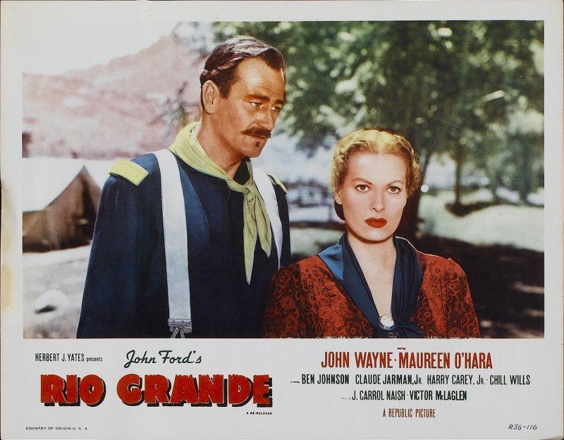 Rio Grande Lobby Card: John Wayne and Maureen O'Hara