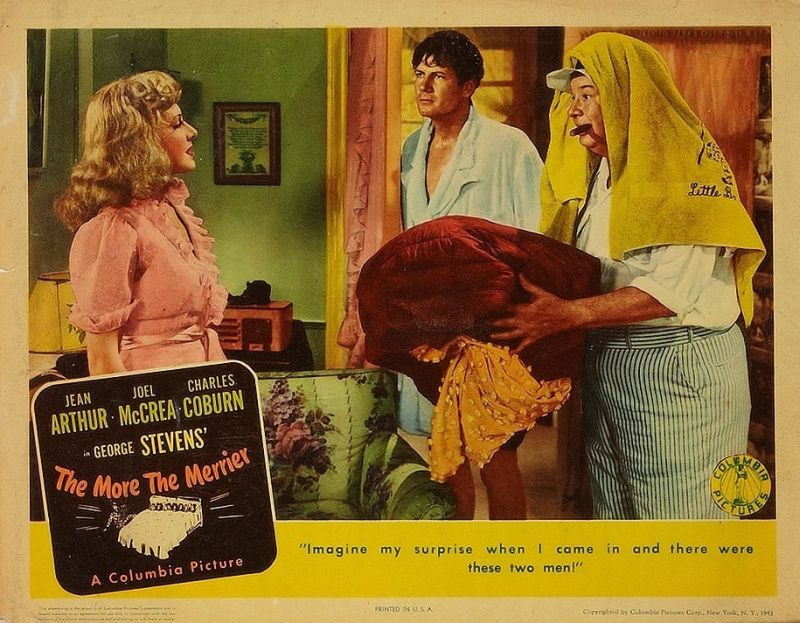 The More the Merrier Lobby Card: Jean Arthur, Joel McCrea, and Charles Coburn