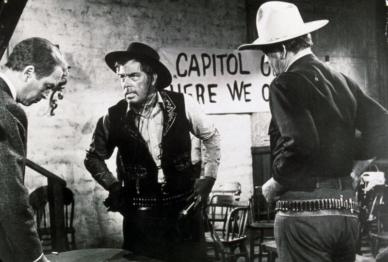 James Stewart, Lee Marvin, and John Wayne in The Man Who Shot Liberty Valance