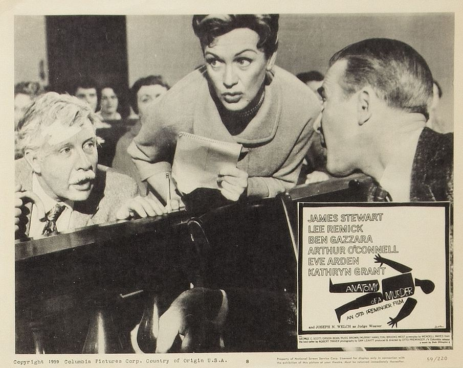 Arthur O'Connell, Eve Arden, and James Stewart in Anatomy of a Murder