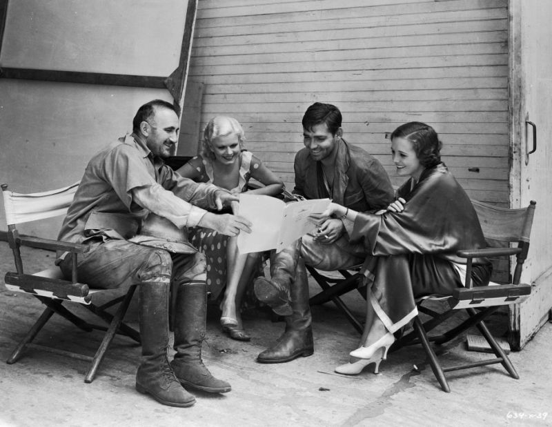 Donald Crisp, Jean Harlow, Clark Gable, and Mary Astor - Behind the Scenes of Red Dust