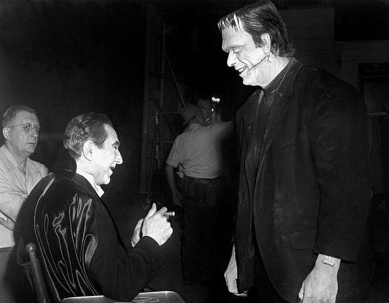 Bela Lugosi and Glenn Strange Abbott and Costello Meet Frankenstein behind the scenes