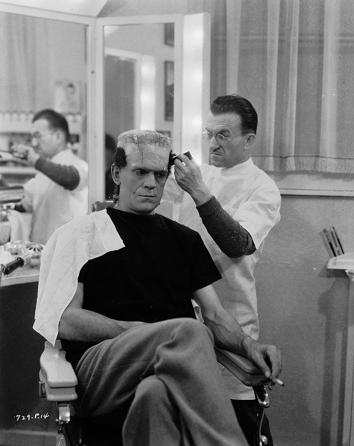 Boris Karloff and Jack Pierce, Behind the Scenes of The Bride of Frankenstein